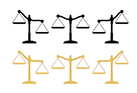 Flat scales of justice set. Empty scales in different position. Vector illustration.