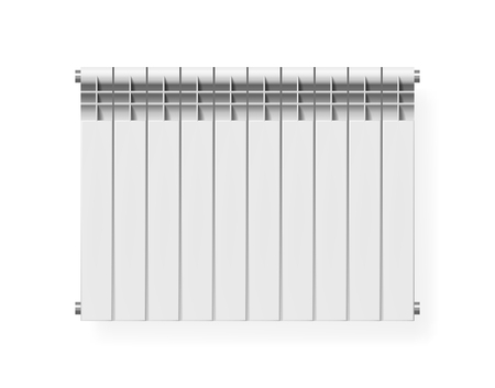 Realistic white modern heating radiator. Isolated vector illustration