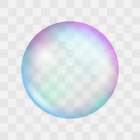 Realistic soap bubble with rainbow reflection and highlights. Vector illustration