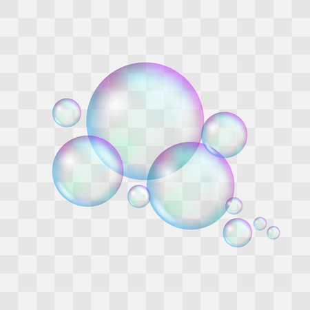 Realistic soap bubble with rainbow reflection and highlights. Vector illustration set Illusztráció