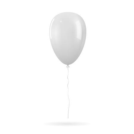 White realistic glossy helium balloon mockup. Isolated vector illustration