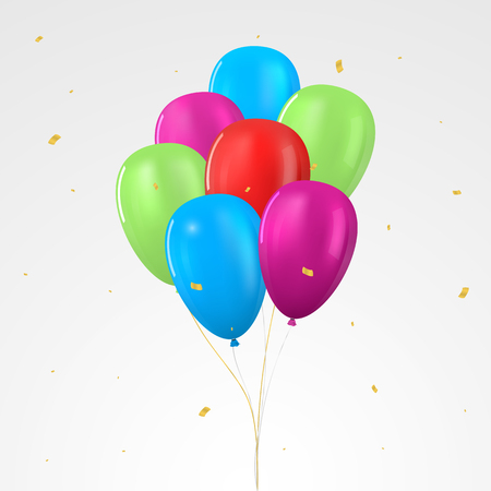 Colored realistic glossy helium balloon set. Isolated vector illustration Illusztráció