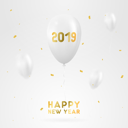 Realistic white air balloons with golden confetti. 2019 Happy new year greeting card. Vector illustration
