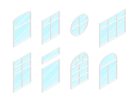 Isometric white windows set with transparent glass. Vector illustration.