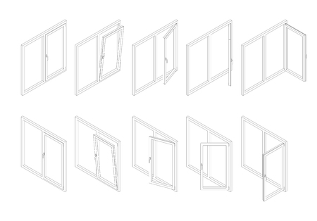 Outline isometric modern white plastic windows set with transparent glass. Vector illustration of open and close window.