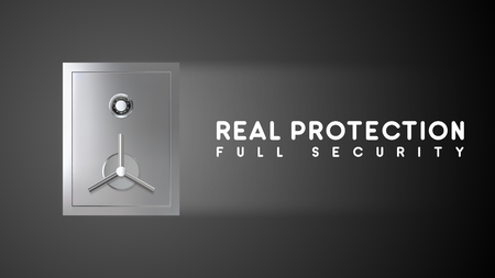 Protection banner with metal safe. Privacy concept witt copy space. Vector illustration Illusztráció
