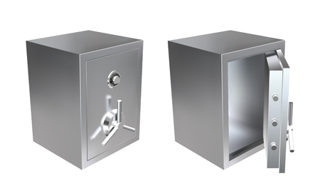 Realistic metal safe with opened and closed door. Armored box vector illustration