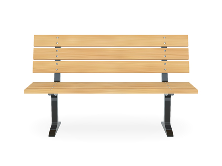 Realistic wooden park bench. Front view vector illustration