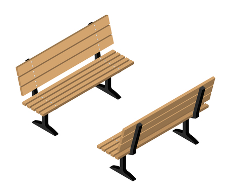 Isometric flat wooden park bench set. Vector illustration
