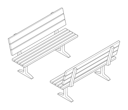 Outline isometric wooden park bench set. Vector illustration Illusztráció