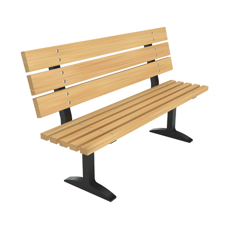 Realistic wooden park bench. Perspective view vector illustration