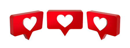 3D red like icon with a heart. Notification on social media. Vector illustration set.