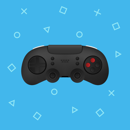 Black realistic modern gamepad illustration. Vector joystick icon Illusztráció