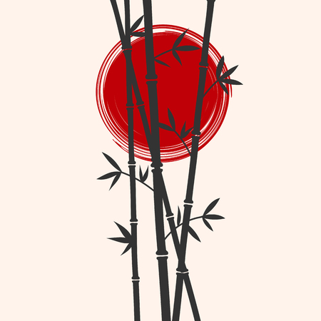 Japan styled bamboo and red sun silhouettes. Flat vector illustration Illusztráció