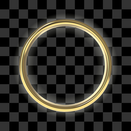 Luxury golden ring on transparent background. Front view to vector frame with a glow