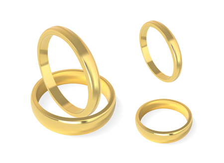 Realistic golden wedding rings. Isolated vector illustration