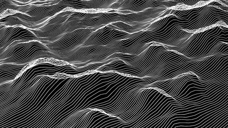 Futuristic wireframe landscape background. Vector digital illustration from wave white lines. Geometric abstraction Illusztráció