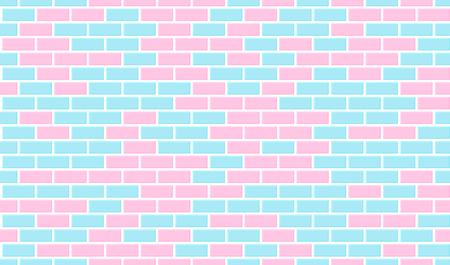 Seamless brick wall pattern. Blue and pink ceramic tile. Modern vector background