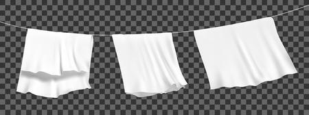 Sábanas blancas secadas en una cuerda al viento. Vector realista