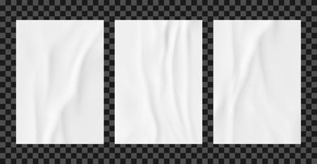 Conjunto de plantillas de cartel arrugado blanco. Maqueta de vector de papel encolado.