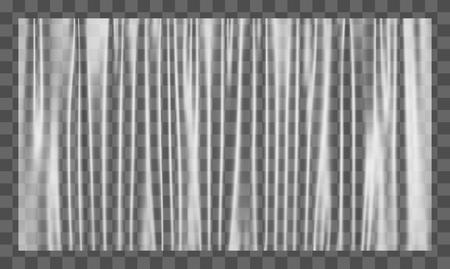 Realistic stretched white plastic warp. Polyethylene background. Vector transparent cellophane mockup