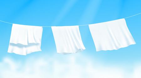Sábanas blancas secadas en una cuerda al viento. Ilustración de vector realista con cielo azul y sol en el fondo