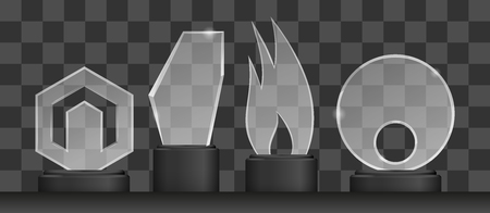 Realistic transparent glass trophy award. Championship prize vector illustration set