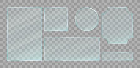 Ensemble de plaques de verre transparent vert réaliste. Éléments de conception de vecteur. Vecteurs