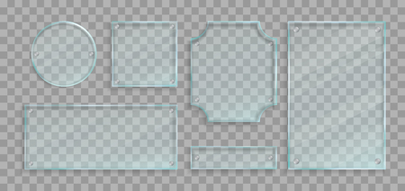 Realistic green transparent glass plates with bolts and shadows set. Vector design elements