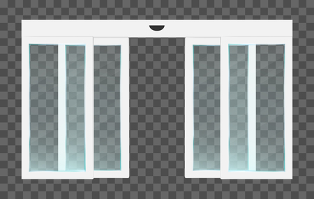 Puertas de cristal correderas abiertas transparentes automáticas blancas realistas de pvc con sensor de movimiento. Ilustración de vector de entrada panorámica