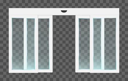 Realistische PVC-weiße automatische transparente offene Glasschiebetüren mit Bewegungssensor. Vektorillustration des Panoramaeingangs