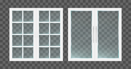 Realistic white pvc transparent glass doors with metallic handles. Vector illustration