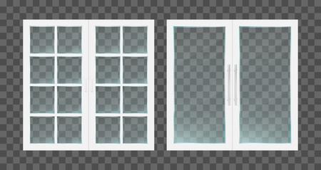 Realistische weiße PVC-transparente Glastüren mit Metallgriffen. Vektor-Illustration