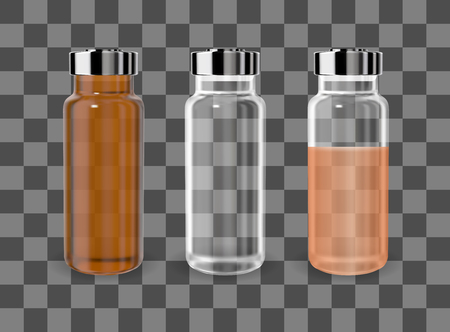 Realistic transparent brown and white empty medicine vial. Vector mockup