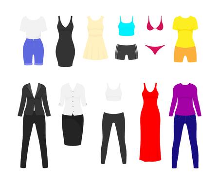 Conjunto plano de ropa de mujer. Vestido de noche rojo largo y corto negro y traje de negocios femenino. Ropa de vector de verano y primavera.