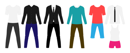 Man modern clothes flat set. Stylish suit and sport garment. Vector illustration.