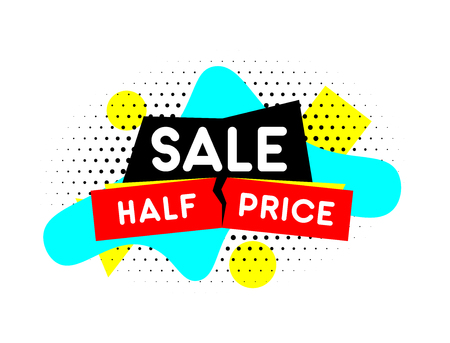 Half price banner. Sale emblem. Vector template