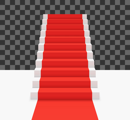 Red carpet on white stairs. Front view vector illustration