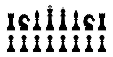 Schwarze Schachfigur-Icon-Set. Isolierte Vektor-Silhouetten.