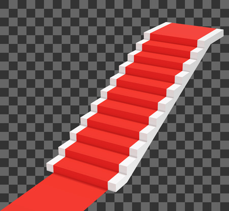 Red carpet on white stairs. Perspective view vector illustration
