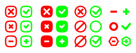 Correct and incorrect icons. True and false signs. Vector set