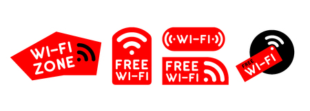 Free wi-fi zone icon set. Vector signs.