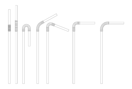 Drinking straw sketch set. Straight and bent plastic cocktail tube. Vector doodle illustration. Иллюстрация