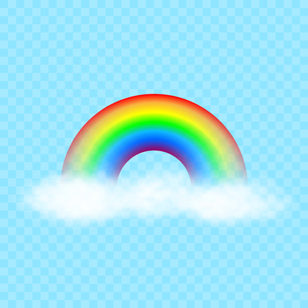 Cartoon colorful rainbow on white clouds. Vector illustration. Ilustrace
