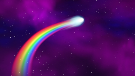 Comet with rainbow tail on outer space. Vector illustration. Illustration