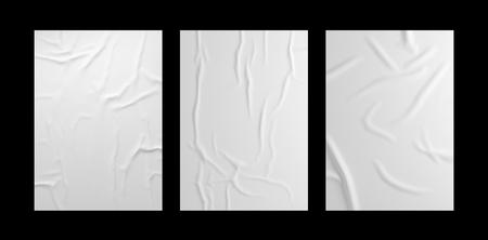 Insieme del modello del manifesto rugoso bianco. Modello di carta incollata isolato.