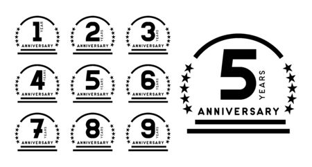 Anniversary emblems set. Years icons. Vector design template. Illusztráció