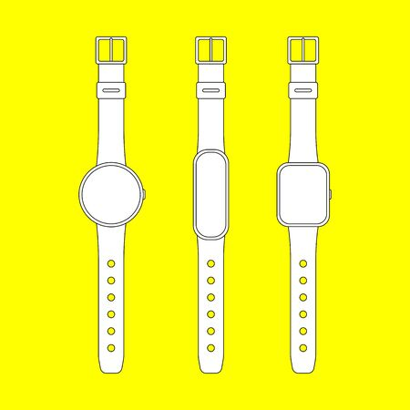 Smart watch and fitness tracker set. Outline vector