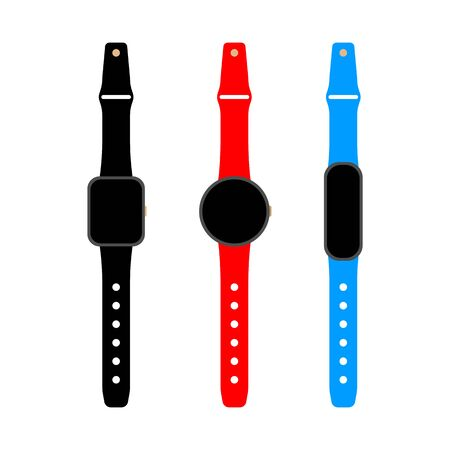Smart watch and fitness tracker set. Flat vector illustration