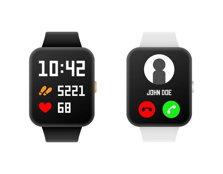 Smart watch and fitness tracker set. Vector illustration.